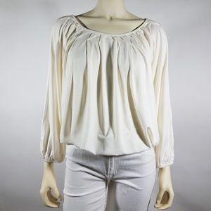 STUDIO M (Macy's) Ivory Jersey Knit Blouse Top